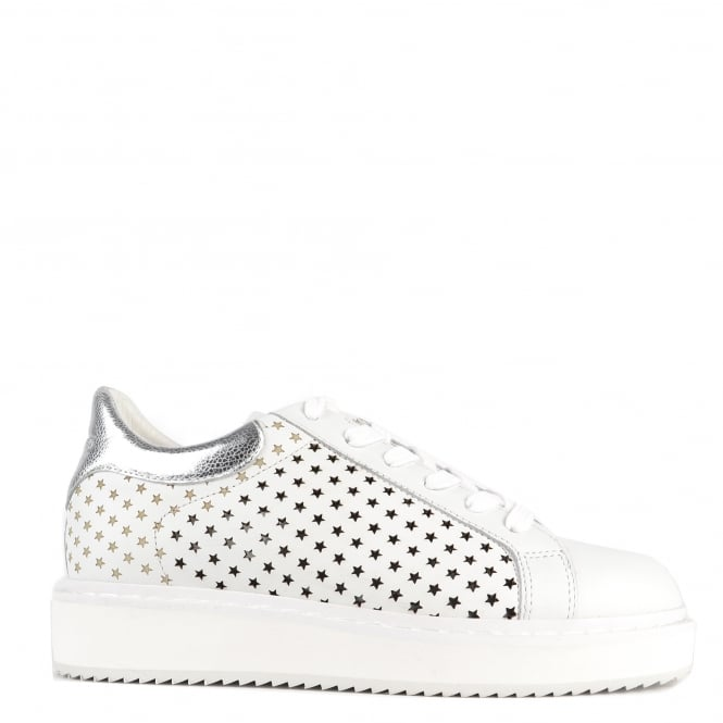 Elia B Shoes Max White and Silver Leather Star Platform Trainer