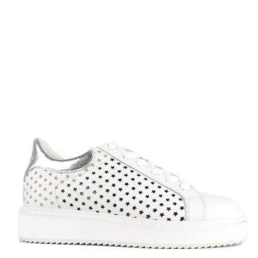 Max White and Silver Leather Star Platform Trainer
