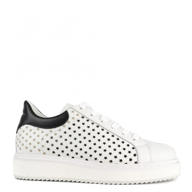 Elia B Shoes Max White Leather Star Platform Trainer