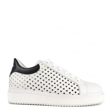 Max White Leather Star Platform Trainer