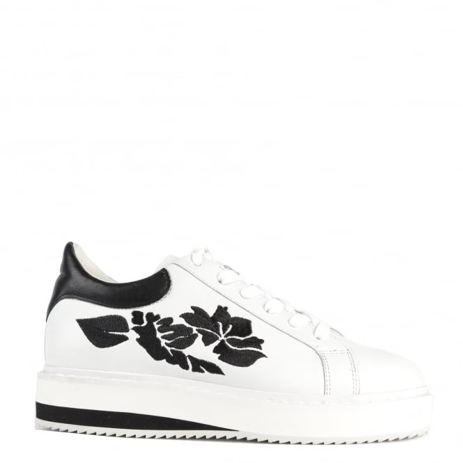 Elia B Shoes Maxem White and Black Floral Trainer
