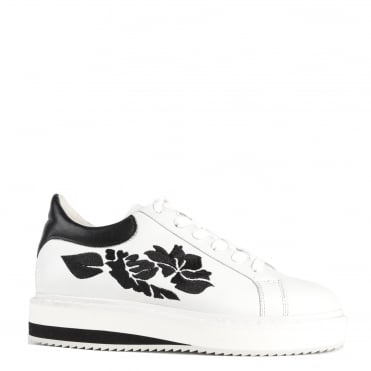 Maxem White and Black Floral Trainer