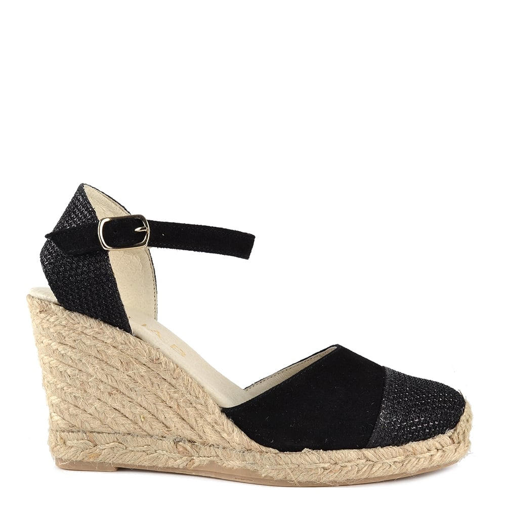e9e4058c441f Elia B Shoes Nani Black Suede Wedge Sandal