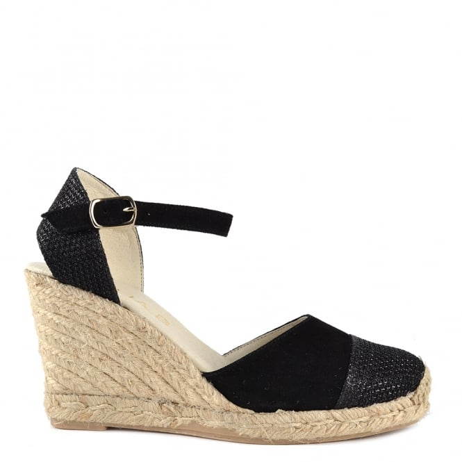 Elia B Shoes Nani Black Suede Wedge Sandal