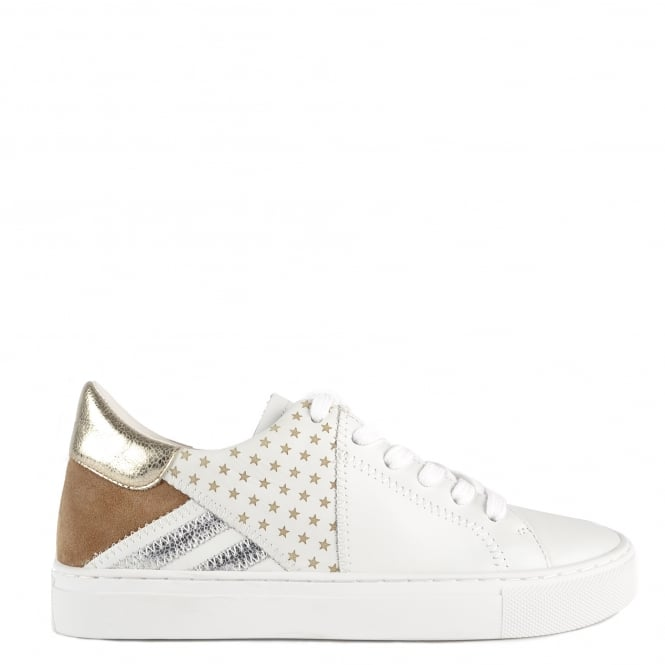 Elia B Shoes Olivia White Leather and Wilde Trainer