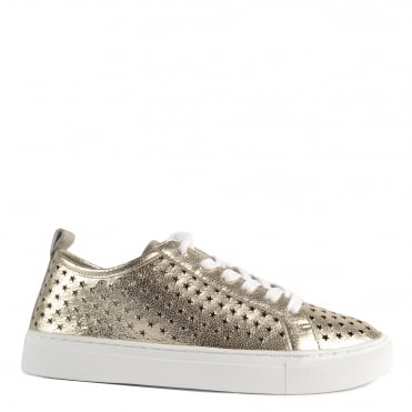 Otis Platine Leather Star Cut Out Trainer