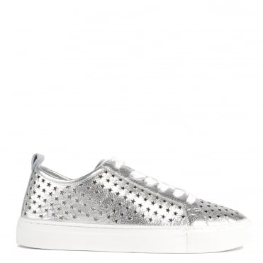 Otis Silver Leather Star Cut Out Trainer