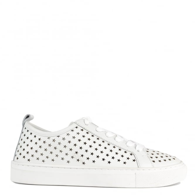 Elia B Shoes Otis White Leather Star Cut Out Trainer