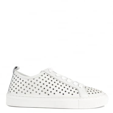 Otis White Leather Star Cut Out Trainer