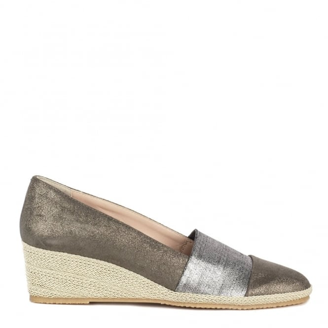 Elia B Shoes Pelloto Bronze Suede Wedge Pump