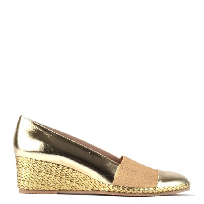 Elia B Shoes Pelloto Gold Wedge Pump