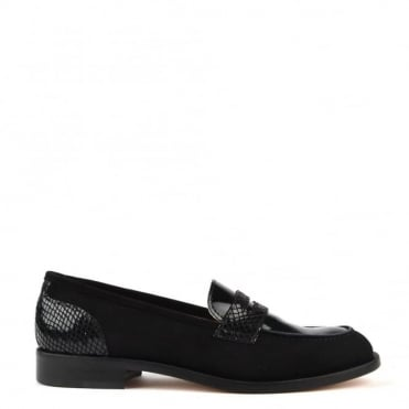 Penny Lane Black Suede and Python Loafer