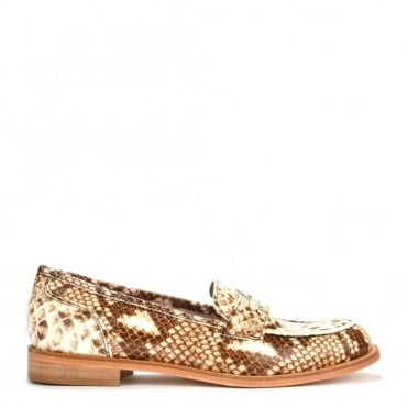 Penny Lane Python Print Patent Leather Loafer