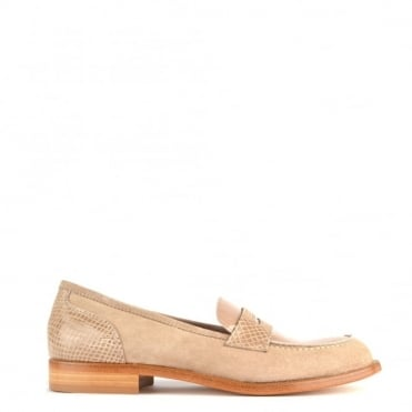 Penny Taupe Suede and Python Loafer