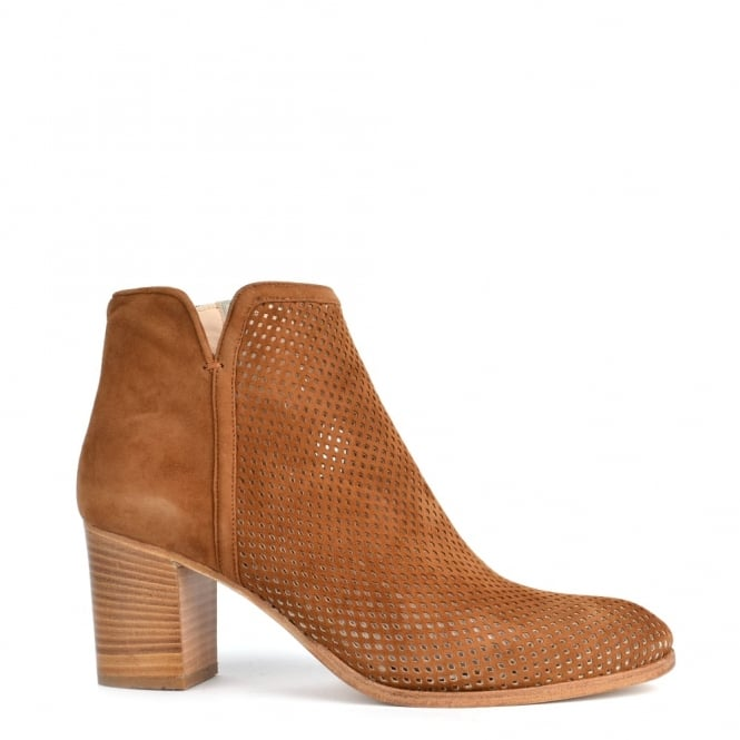 Elia B Shoes Perry Tobacco Suede Perforated Ankle Boot