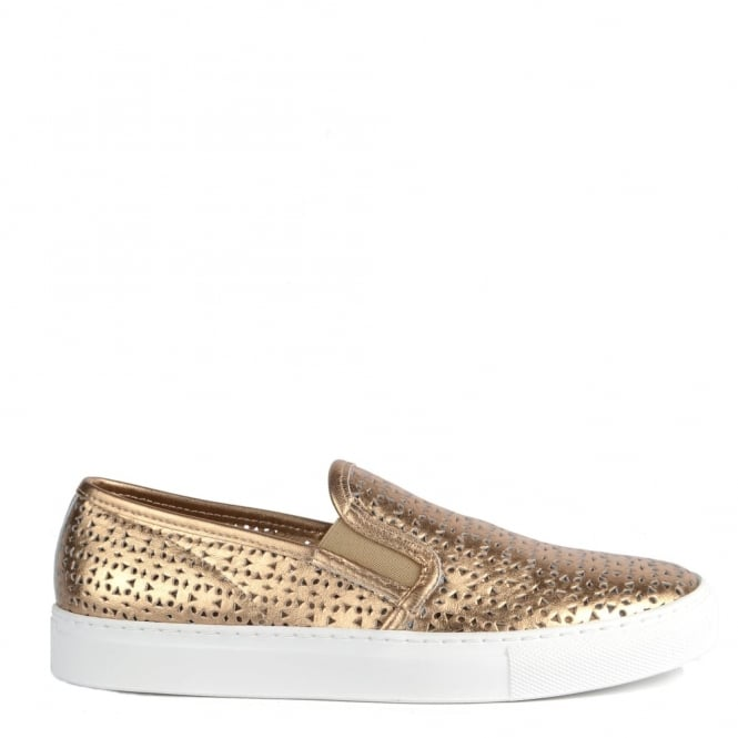 Elia B Shoes Polo Rose Gold Perforated Slip On Trainer