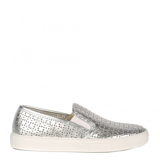 Elia B Shoes Polo Silver Perforated Slip On Trainer