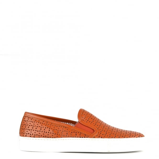 Elia B Shoes Polo Tan Perforated Slip On Trainer
