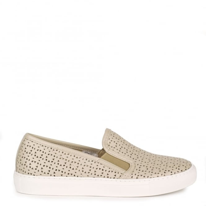 Elia B Shoes Polo Torrone 'Taupe' Perforated Slip On Trainer
