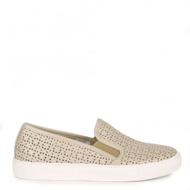 Polo Torrone 'Taupe' Perforated Slip On Trainer