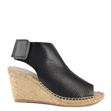 Quai Black Leather Wedge Sandal