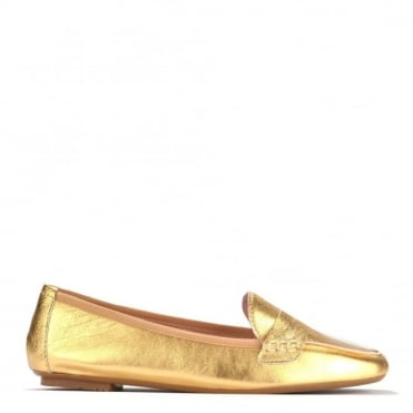 Rita Gold Leather Loafer