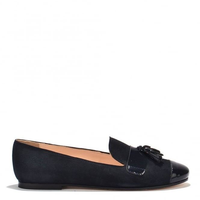 Elia B Shoes Rome Navy Suede Tassel Loafer