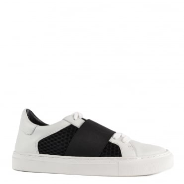 Saber White and Black Elasticated Trainer