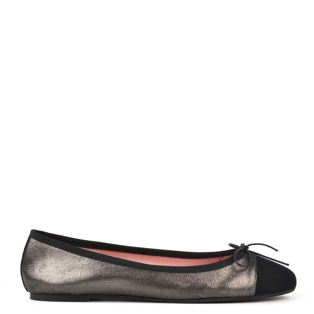 5b172ab8e997 Elia B Shoes Sandra Metallic Grey and Black Ballet Flat - Women from ...