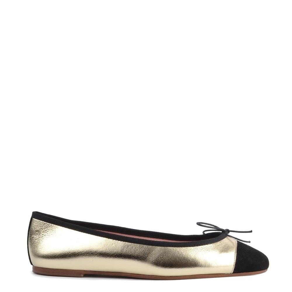 de08f6b82933 Elia B Shoes Sandra Platine and Black Ballet Flat
