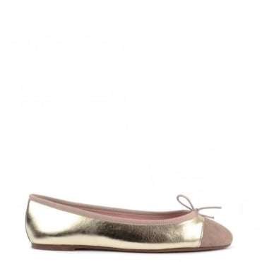 Sandra Platine and Taupe Ballet Flat