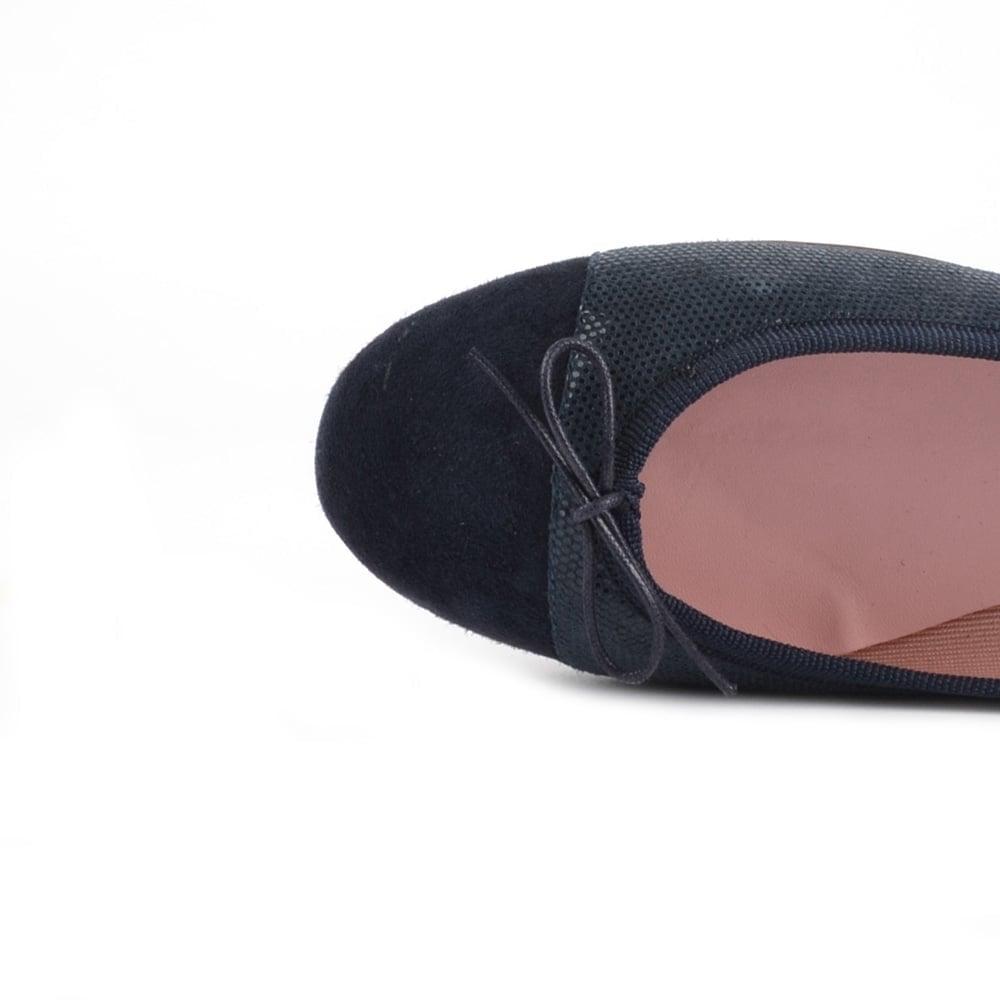 cc76c8907fe4 Elia B Sandra Shiny Blue Suede Ballet Flat