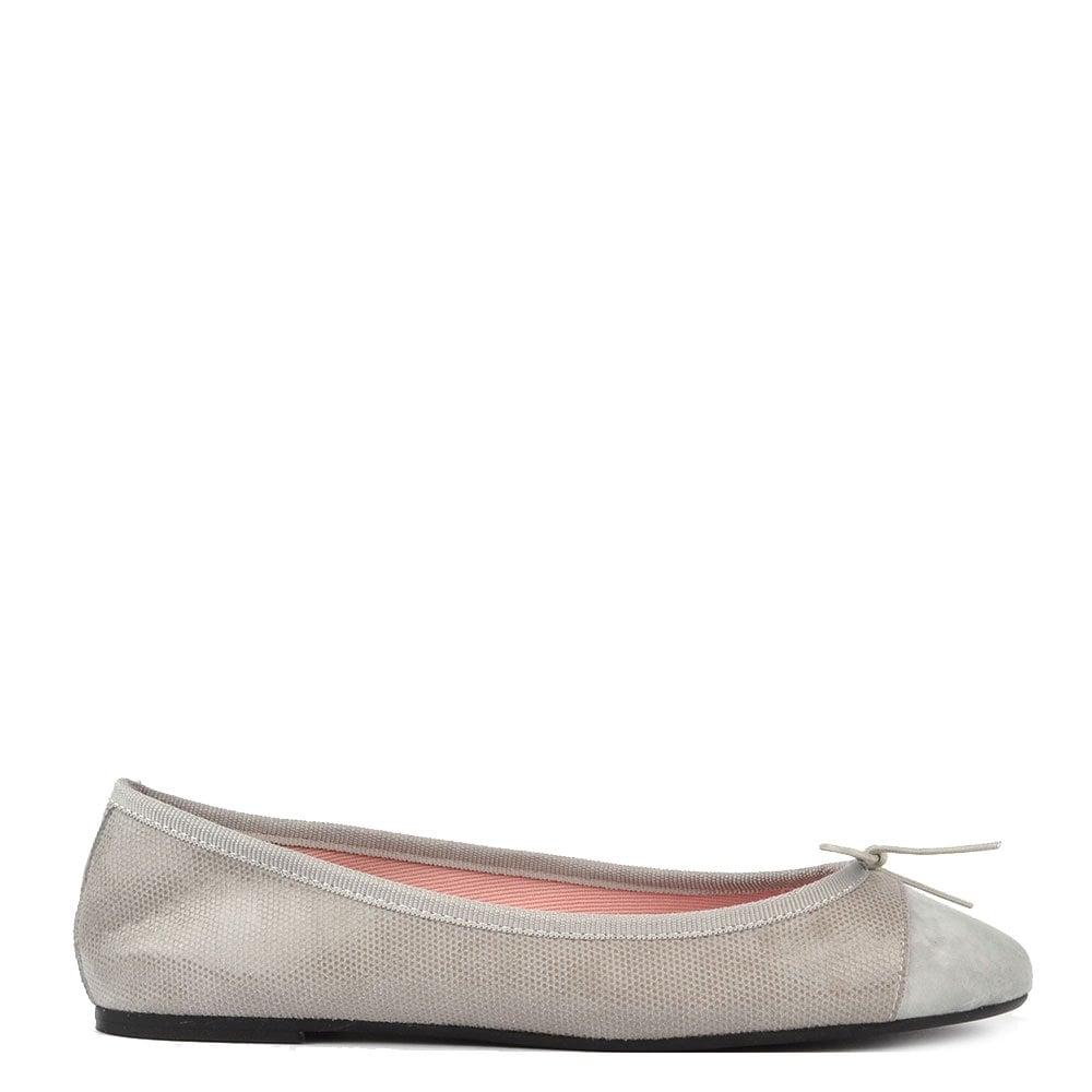 14fd5d3b72b8 Elia B Shoes Sandra Shiny Grey Suede Ballet Flat - Women from Brand ...