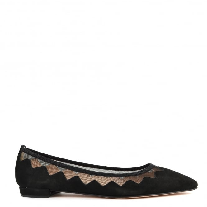 Elia B Shoes Sasha Black Suede and Mesh Ballet Flat