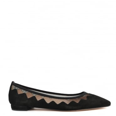 Sasha Black Suede and Mesh Ballet Flat