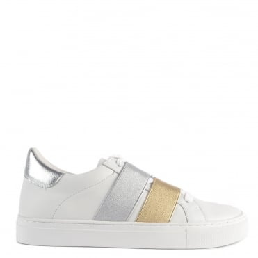 Sassy White Leather and Platine Trainer