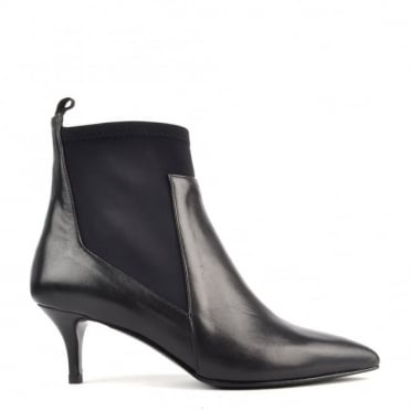 Scuba Black Leather Heeled Boot