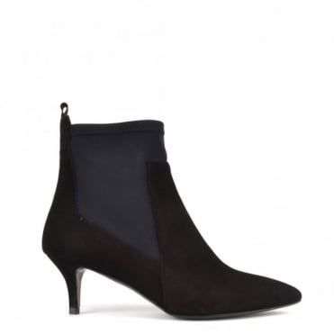 Scuba Black Suede Heeled Boot