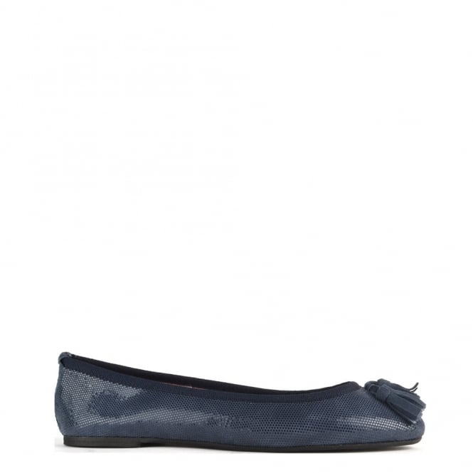 Elia B Shoes Simona Blue Suede Ballet Pump