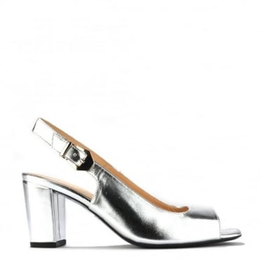 Slinky Silver Leather Slingback Pump