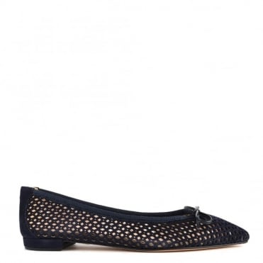 Sofia Navy Laser Cut Pointed Flat