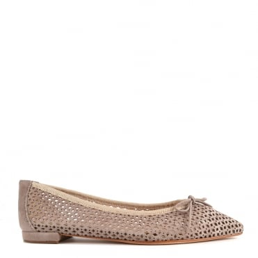 Sofia Taupe Cut Out Pointed Flat