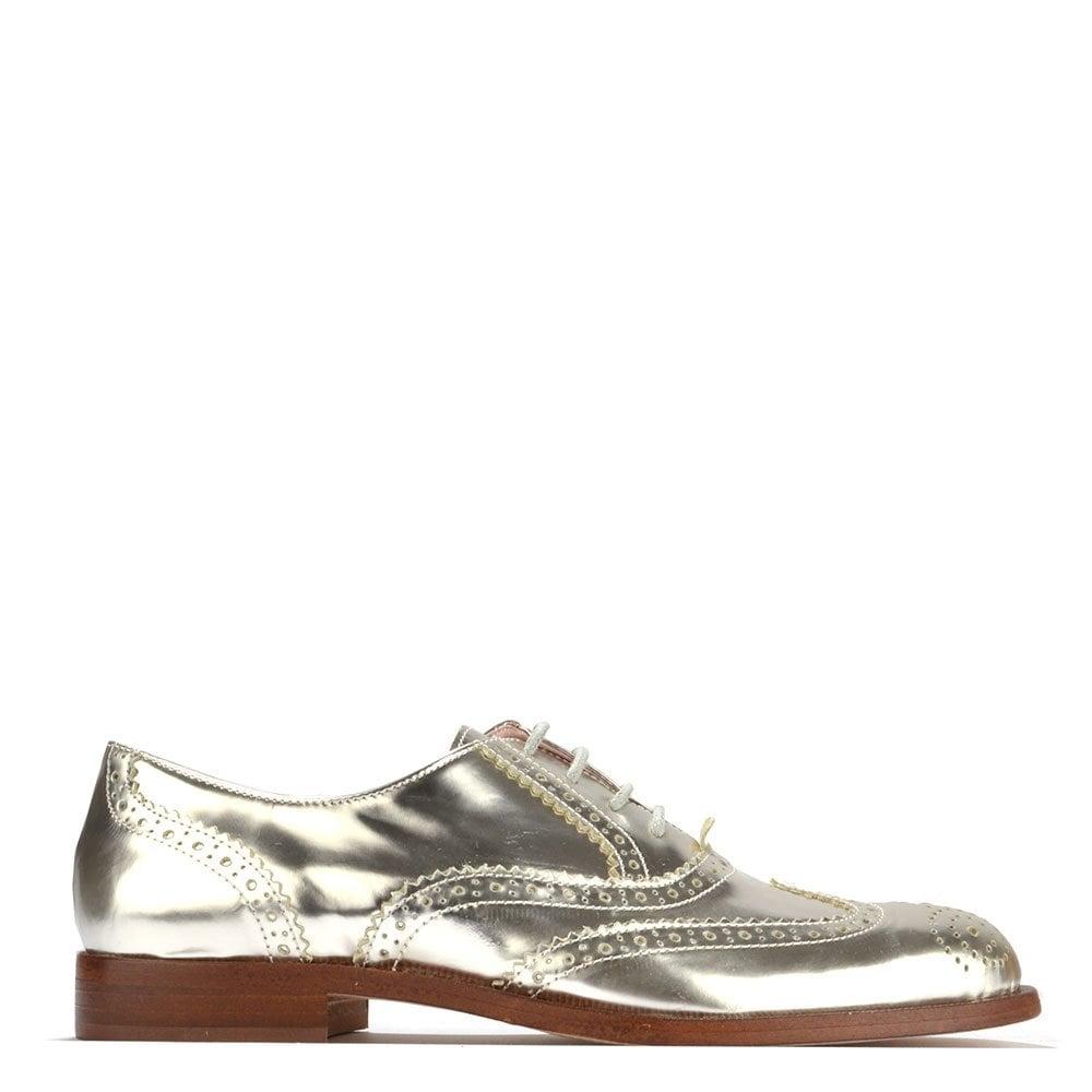 Elia B Shoes Spectator Metallic Silver Brogue