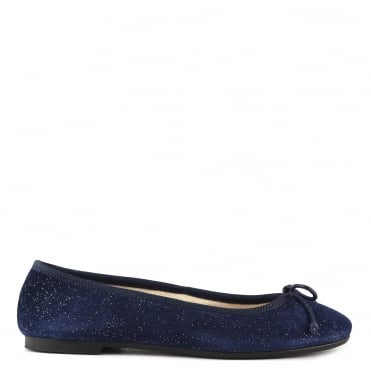 Stefania Blue Cosmo Suede Ballet Flat