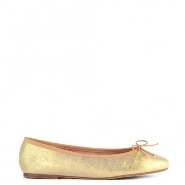 Stefania Platine Leather Ballet Flat