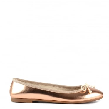 Stefania Rose Gold Leather Ballet Flat