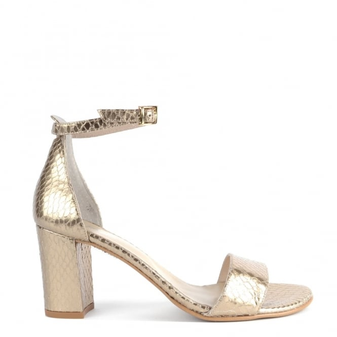 Elia B Shoes Studio Gold Python Effect Heeled Sandal