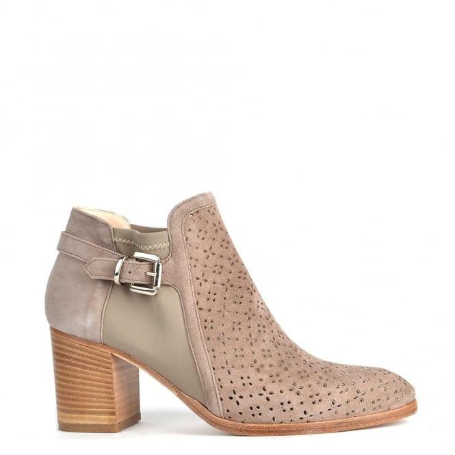 Elia B Shoes Urban High Taupe Laser Cut Ankle Boot
