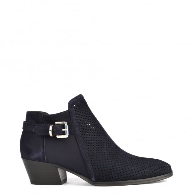 Elia B Shoes Urbanite Blue Perforated Ankle Boot