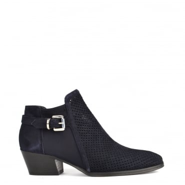 Urbanite Blue Perforated Ankle Boot